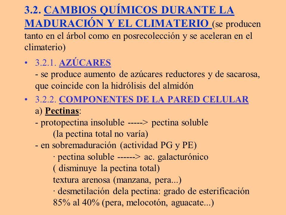 3.2. CAMBIOS QUÍMICOS DURANTE LA MADURACIÓN Y EL CLIMATERIO (se producen tanto en el árbol como en posrecolección y se aceleran en el climaterio)