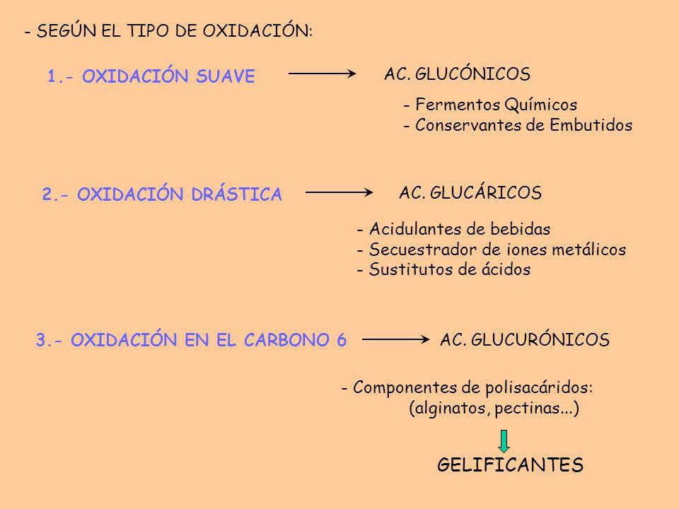 GELIFICANTES 2.- OXIDACIÓN DRÁSTICA 1.- OXIDACIÓN SUAVE AC. GLUCÓNICOS