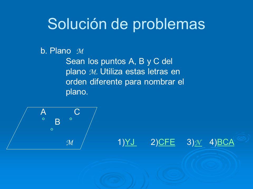 Solución de problemas b. Plano M Sean los puntos A, B y C del