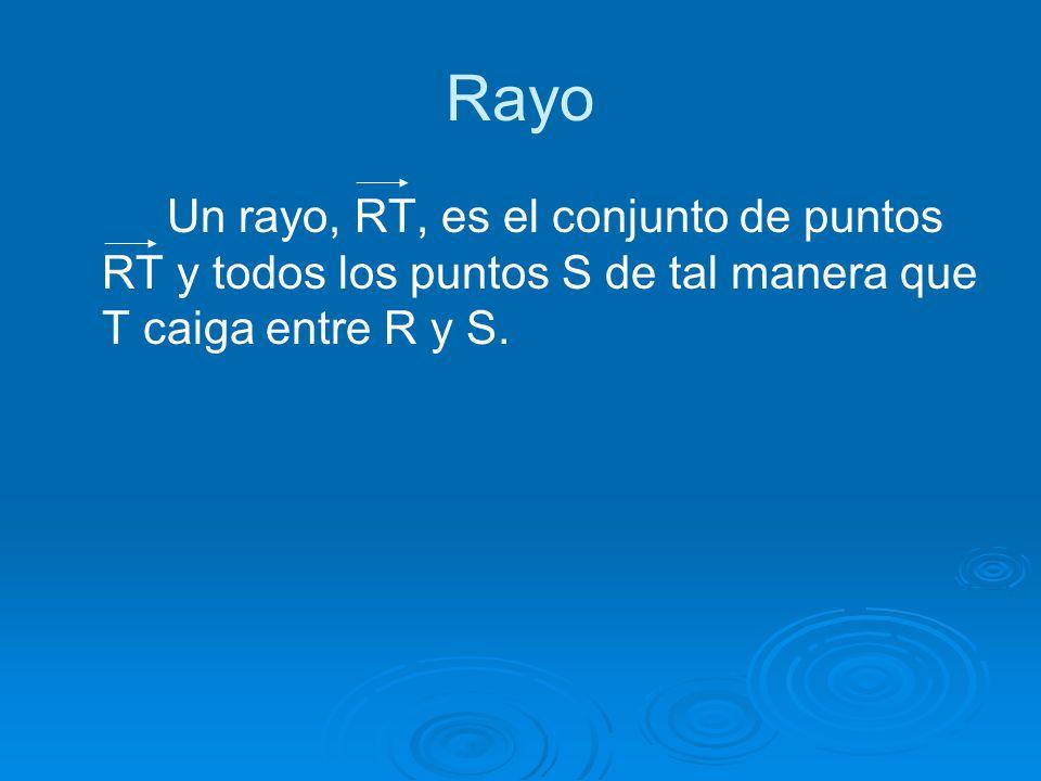 Rayo Un rayo, RT, es el conjunto de puntos RT y todos los puntos S de tal manera que T caiga entre R y S.