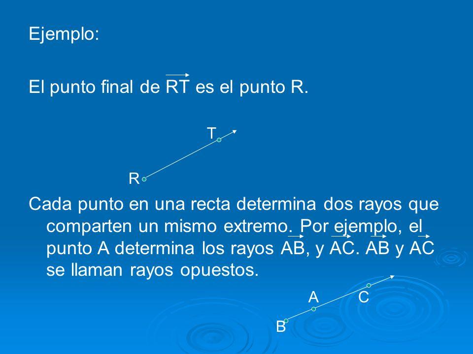 B Ejemplo: El punto final de RT es el punto R.