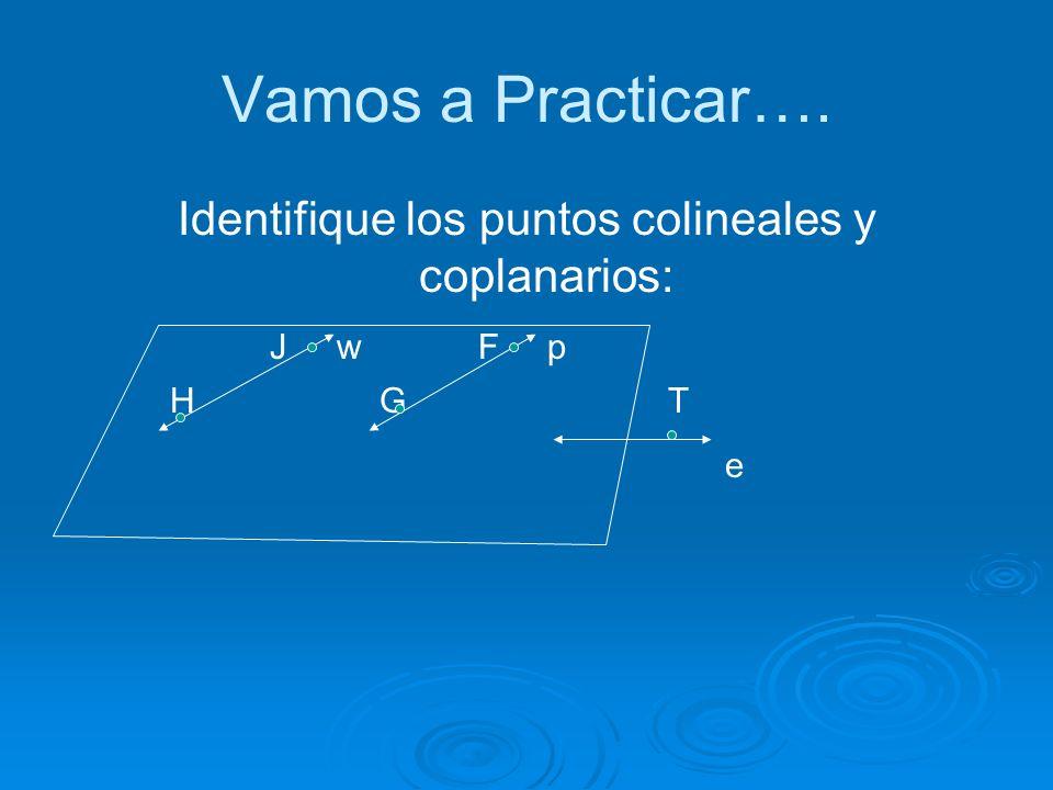 Identifique los puntos colineales y coplanarios: