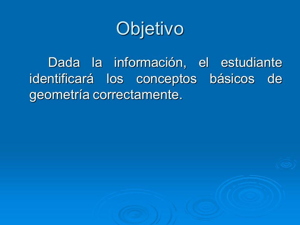 Objetivo Dada la información, el estudiante identificará los conceptos básicos de geometría correctamente.