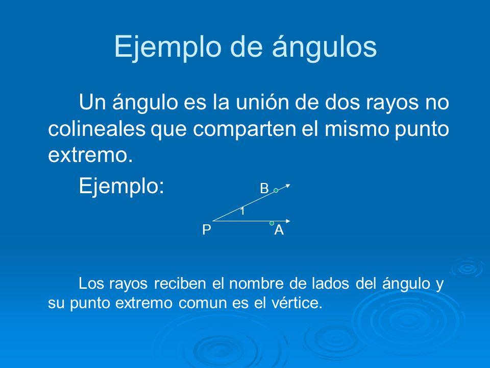 Ejemplo de ángulos Un ángulo es la unión de dos rayos no colineales que comparten el mismo punto extremo.