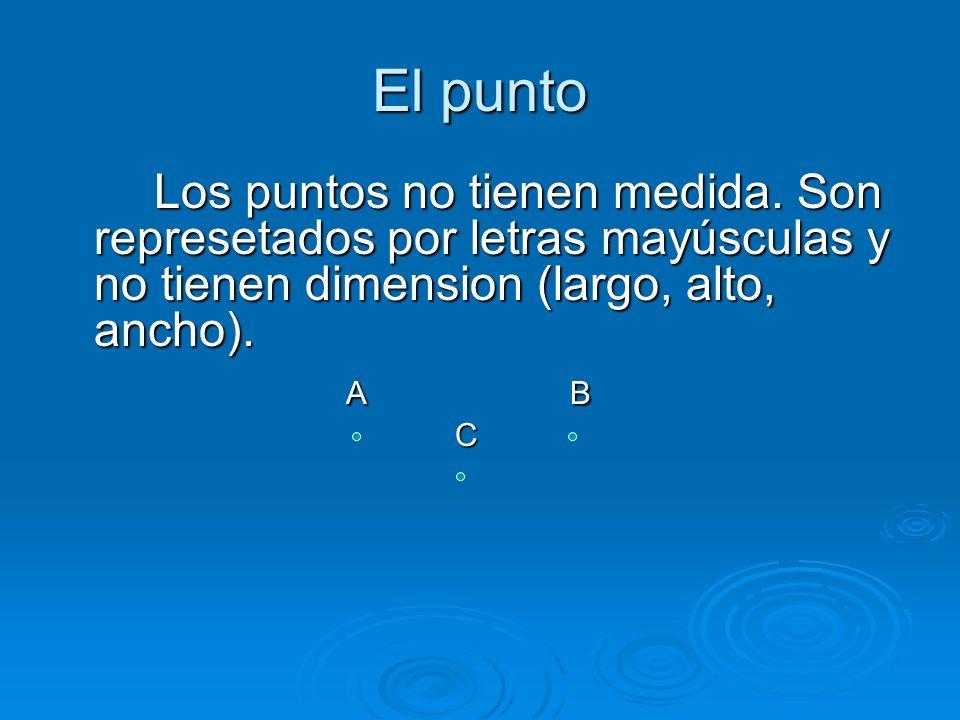El punto Los puntos no tienen medida. Son represetados por letras mayúsculas y no tienen dimension (largo, alto, ancho).