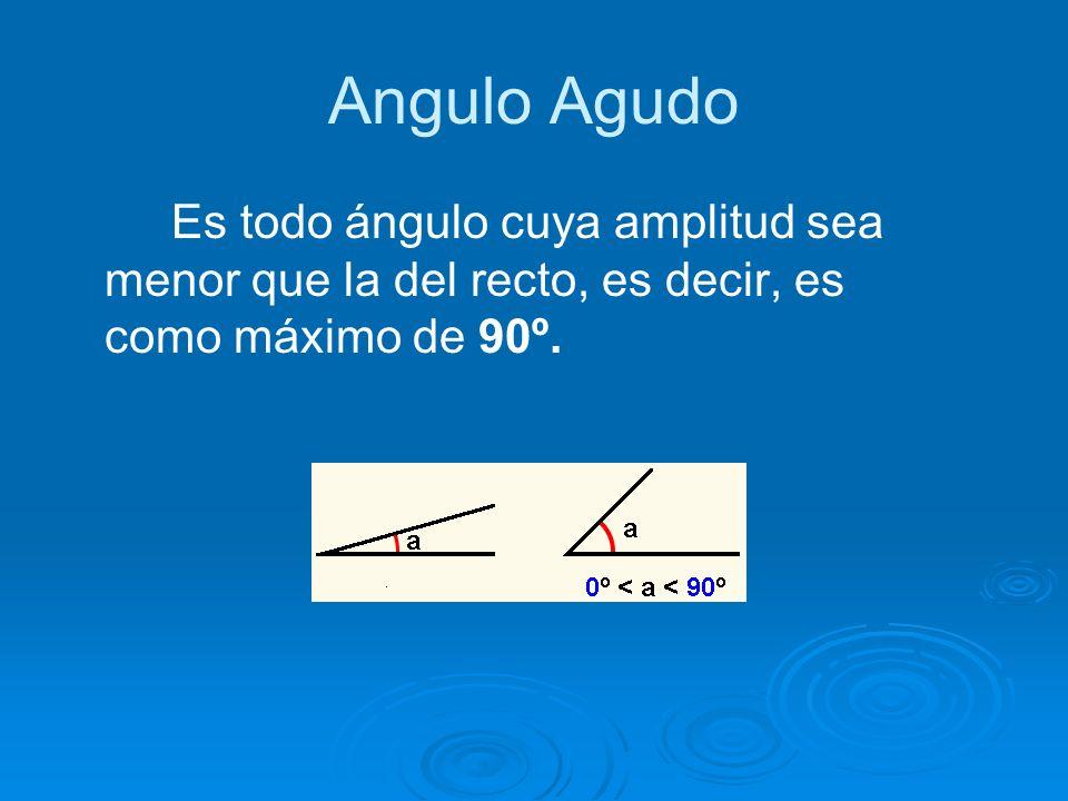 Angulo Agudo Es todo ángulo cuya amplitud sea menor que la del recto, es decir, es como máximo de 90º.