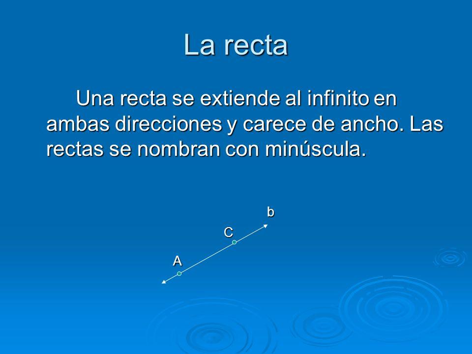 La recta Una recta se extiende al infinito en ambas direcciones y carece de ancho. Las rectas se nombran con minúscula.