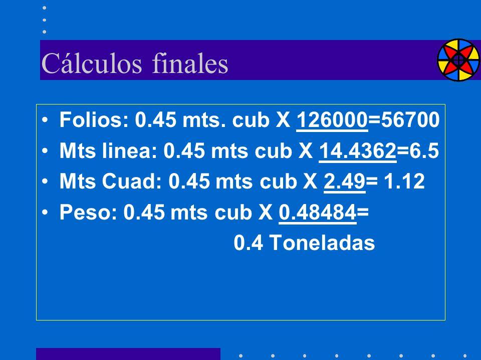 Cálculos finales Folios: 0.45 mts. cub X 126000=56700