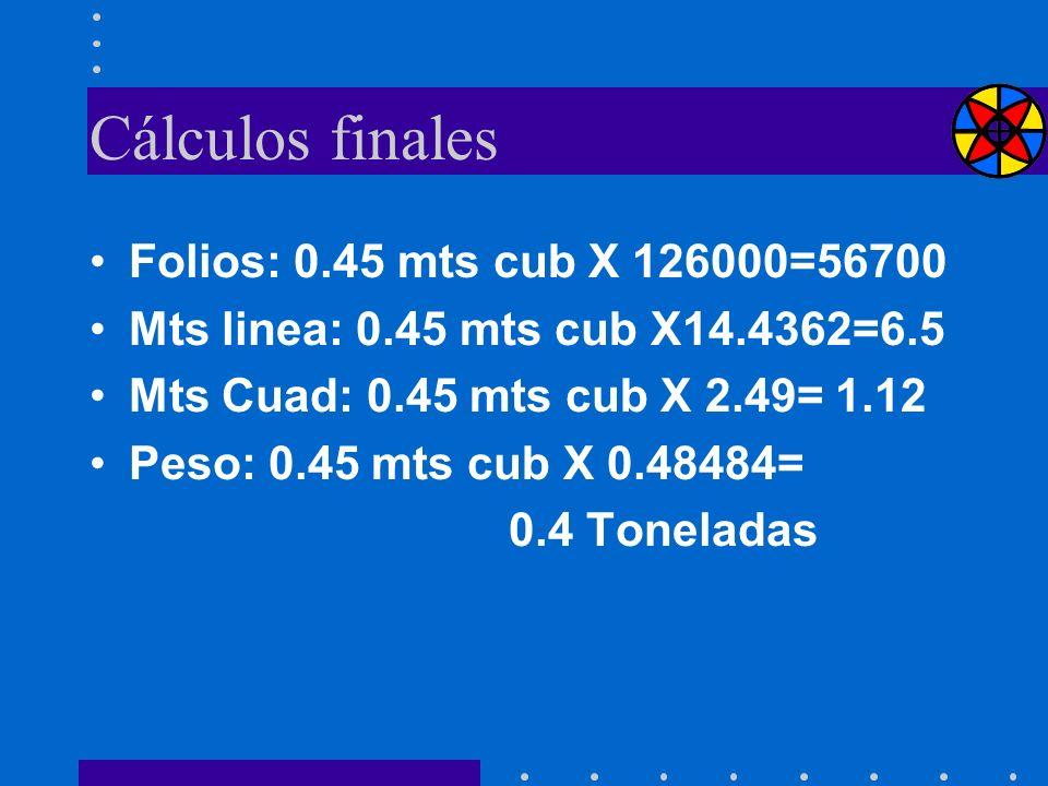 Cálculos finales Folios: 0.45 mts cub X 126000=56700