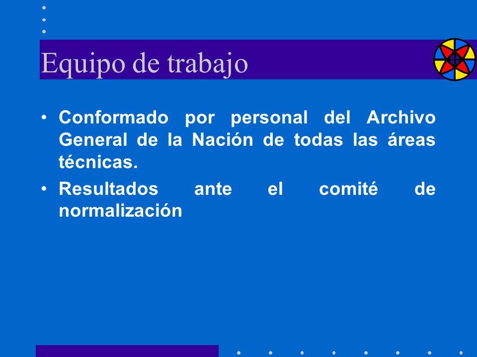 Equipo de trabajo Conformado por personal del Archivo General de la Nación de todas las áreas técnicas.