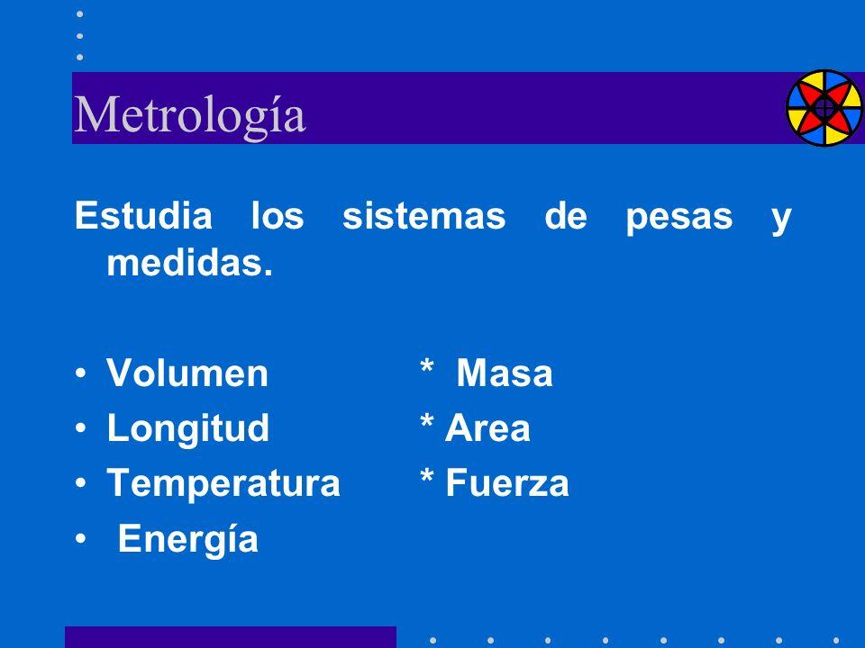 Metrología Estudia los sistemas de pesas y medidas. Volumen * Masa