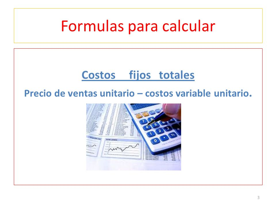 Formulas para calcular