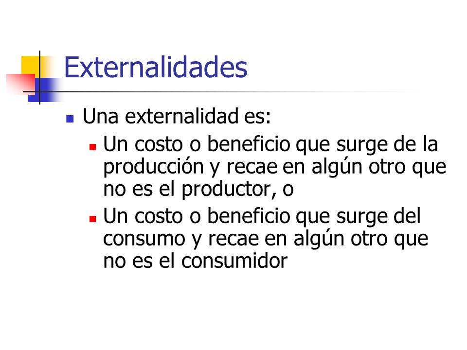 Externalidades Una externalidad es: