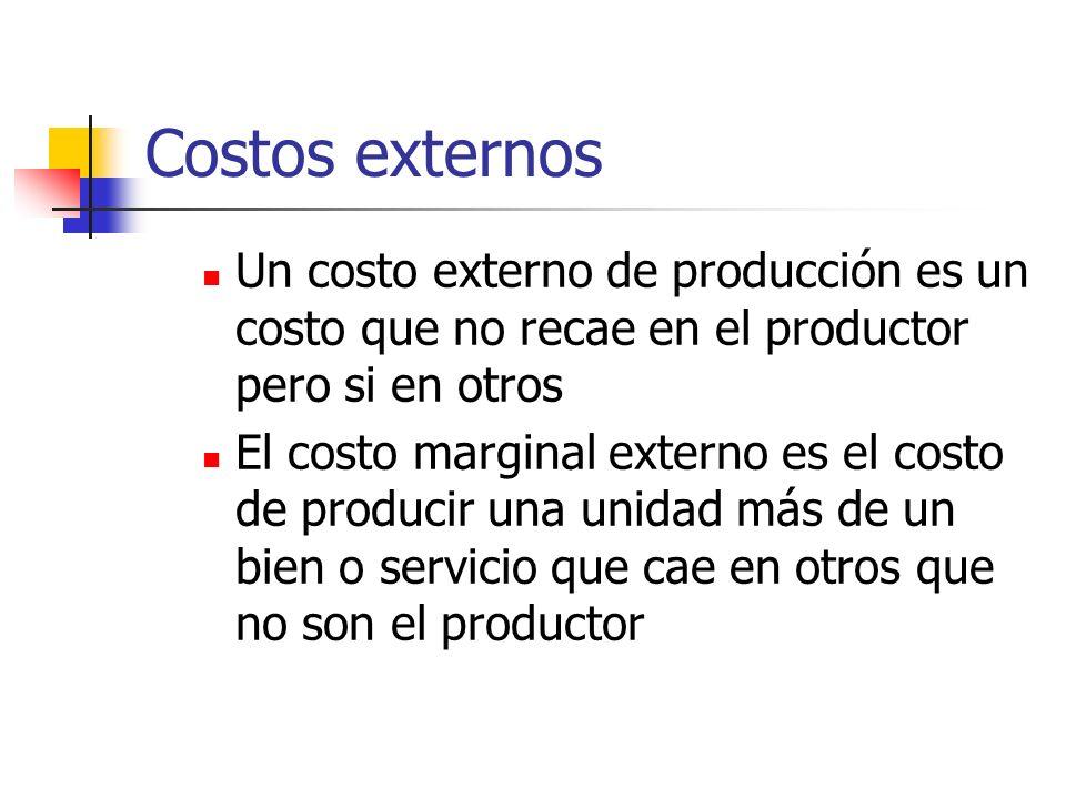 Costos externosUn costo externo de producción es un costo que no recae en el productor pero si en otros.