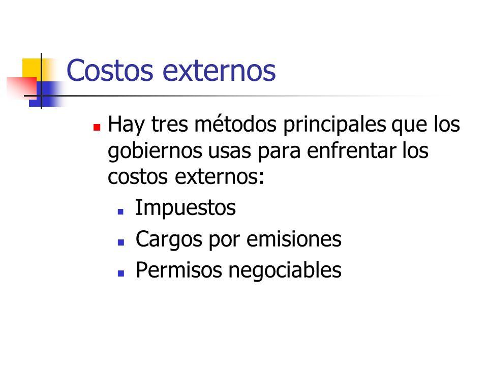 Costos externos Hay tres métodos principales que los gobiernos usas para enfrentar los costos externos: