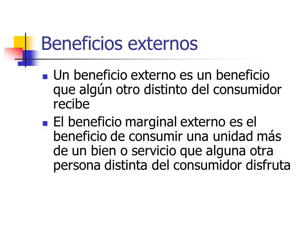 Beneficios externos Un beneficio externo es un beneficio que algún otro distinto del consumidor recibe.