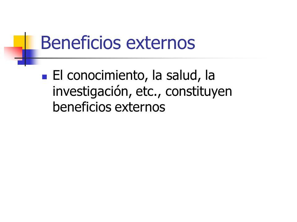 Beneficios externos El conocimiento, la salud, la investigación, etc., constituyen beneficios externos.
