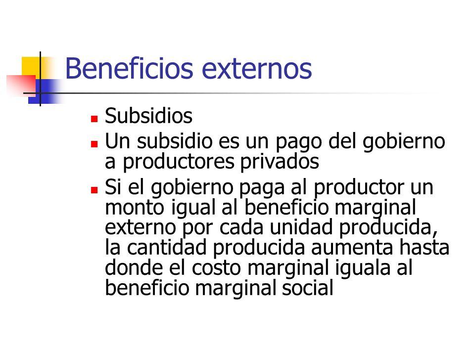 Beneficios externos Subsidios