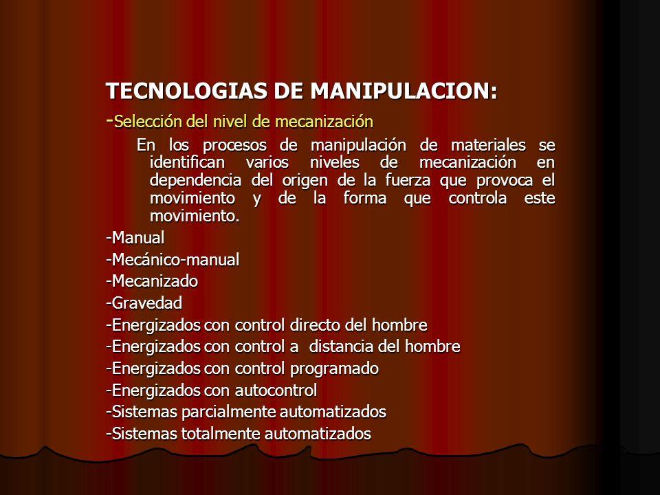 TECNOLOGIAS DE MANIPULACION: -Selección del nivel de mecanización
