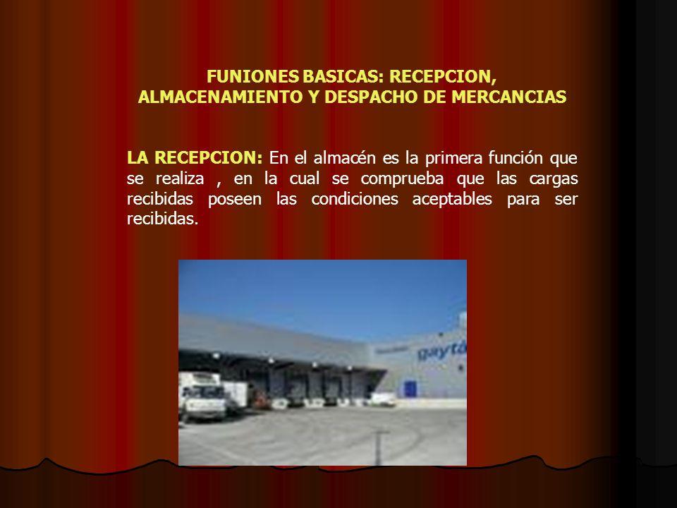 FUNIONES BASICAS: RECEPCION, ALMACENAMIENTO Y DESPACHO DE MERCANCIAS