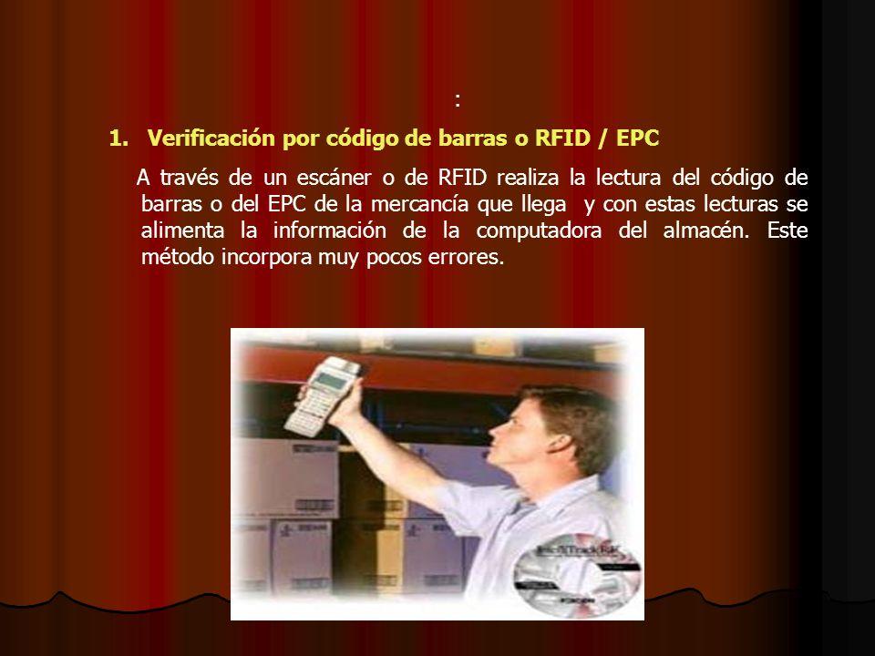 Verificación por código de barras o RFID / EPC