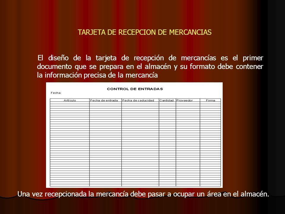 TARJETA DE RECEPCION DE MERCANCIAS