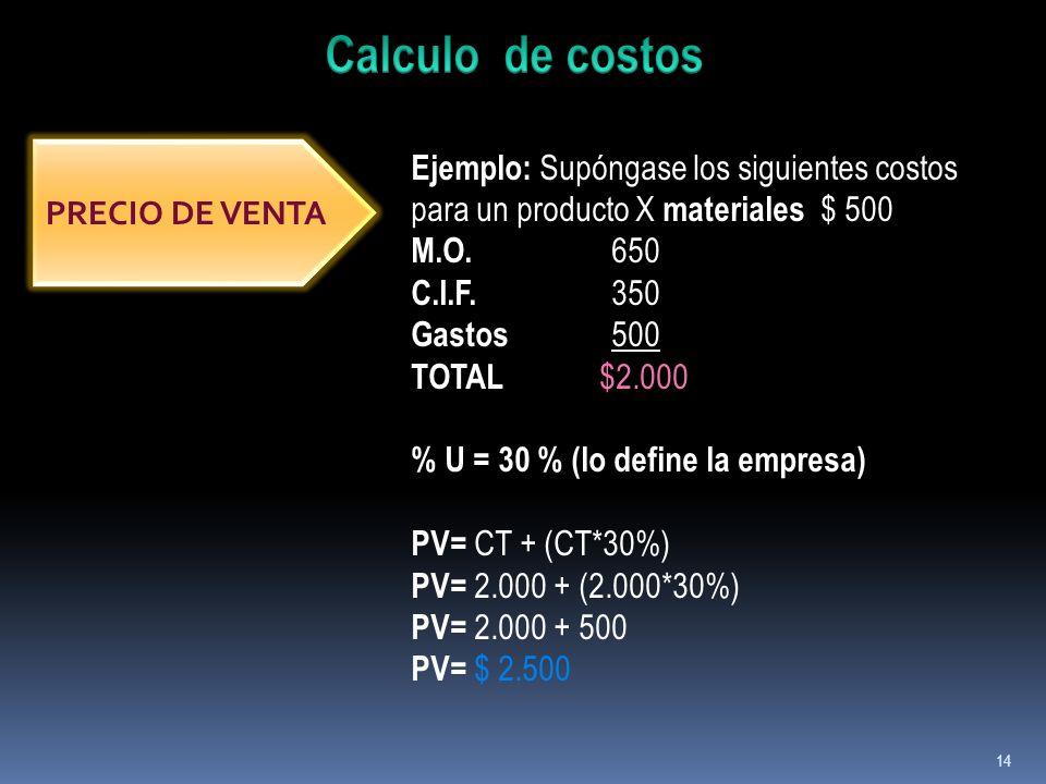 Calculo de costos Ejemplo: Supóngase los siguientes costos para un producto X materiales $ 500. M.O. 650.