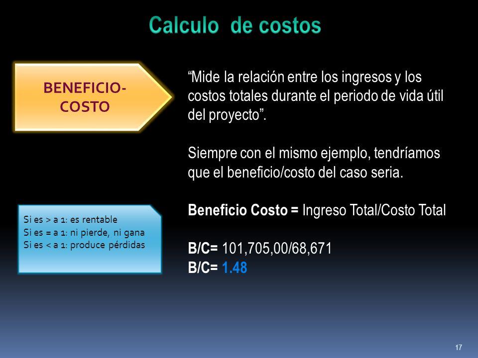 Calculo de costos Mide la relación entre los ingresos y los costos totales durante el periodo de vida útil del proyecto .