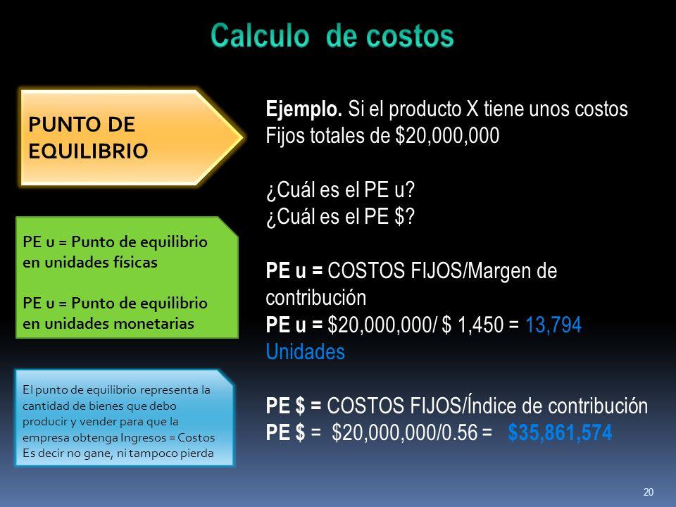 Calculo de costos Ejemplo. Si el producto X tiene unos costos Fijos totales de $20,000,000. ¿Cuál es el PE u