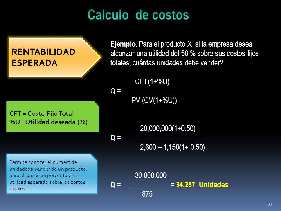 Calculo de costos RENTABILIDAD ESPERADA