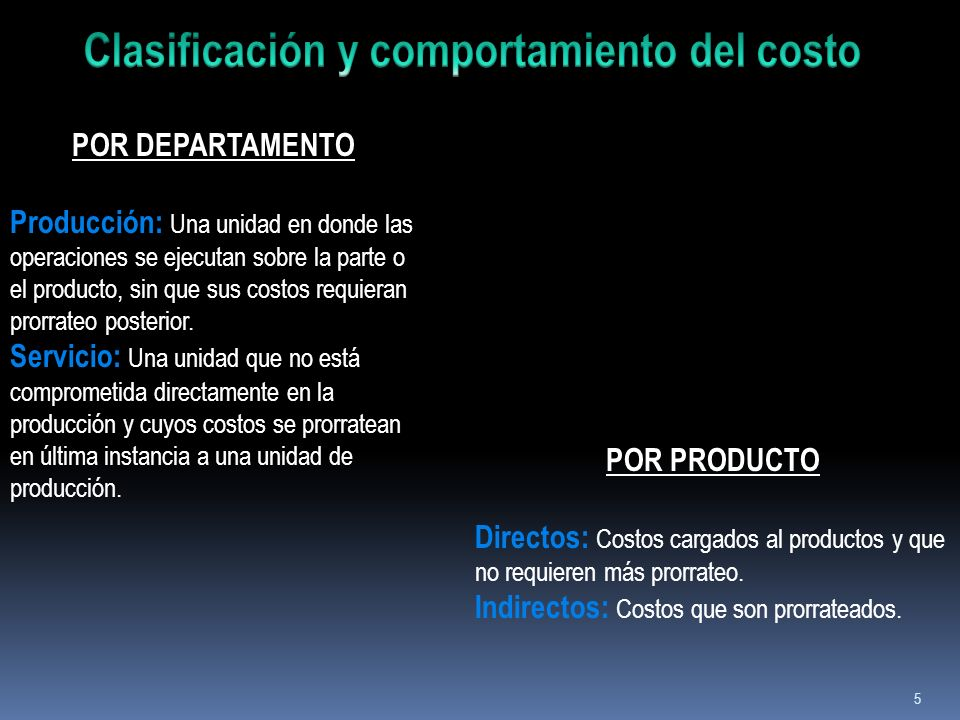 Clasificación y comportamiento del costo