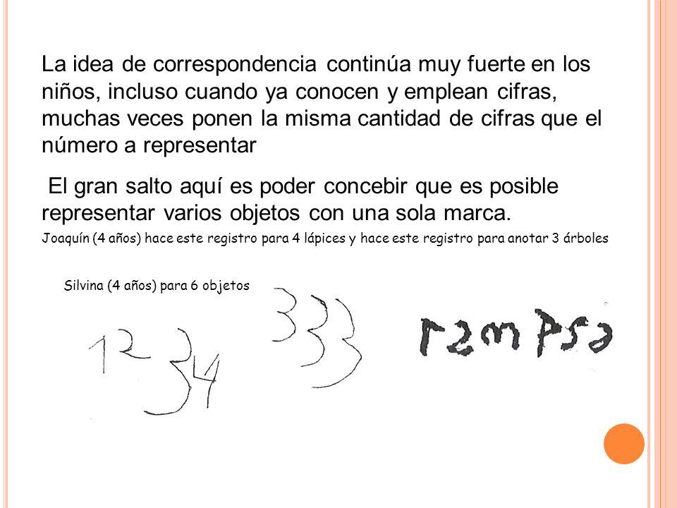 La idea de correspondencia continúa muy fuerte en los niños, incluso cuando ya conocen y emplean cifras, muchas veces ponen la misma cantidad de cifras que el número a representar