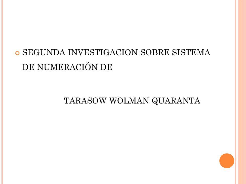 SEGUNDA INVESTIGACION SOBRE SISTEMA DE NUMERACIÓN DE