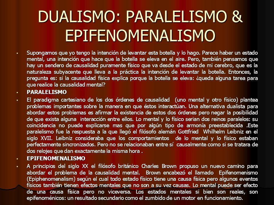 DUALISMO: PARALELISMO & EPIFENOMENALISMO