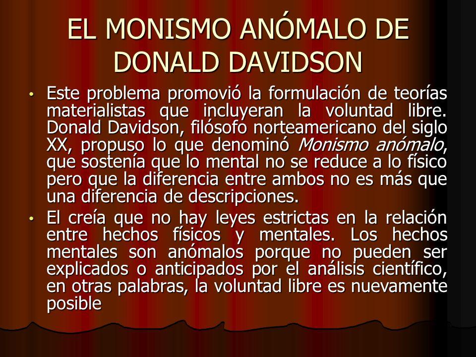 EL MONISMO ANÓMALO DE DONALD DAVIDSON