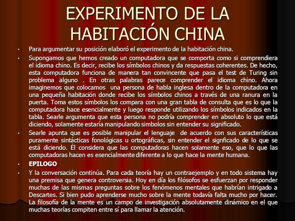 EXPERIMENTO DE LA HABITACIÓN CHINA