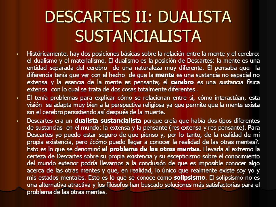 DESCARTES II: DUALISTA SUSTANCIALISTA