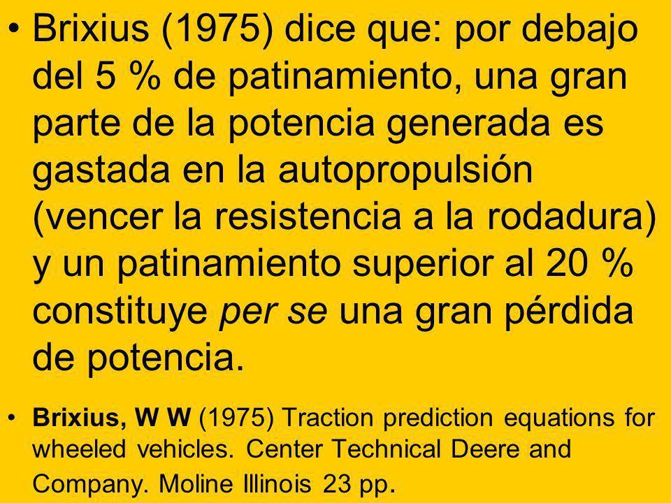 Brixius (1975) dice que: por debajo del 5 % de patinamiento, una gran parte de la potencia generada es gastada en la autopropulsión (vencer la resistencia a la rodadura) y un patinamiento superior al 20 % constituye per se una gran pérdida de potencia.