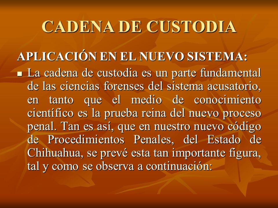 CADENA DE CUSTODIA APLICACIÓN EN EL NUEVO SISTEMA: