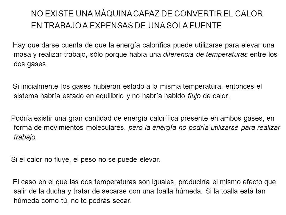 NO EXISTE UNA MÁQUINA CAPAZ DE CONVERTIR EL CALOR EN TRABAJO A EXPENSAS DE UNA SOLA FUENTE