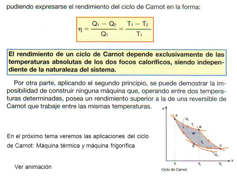 En el próximo tema veremos las aplicaciones del ciclo de Carnot: Máquina térmica y máquina frigorífica