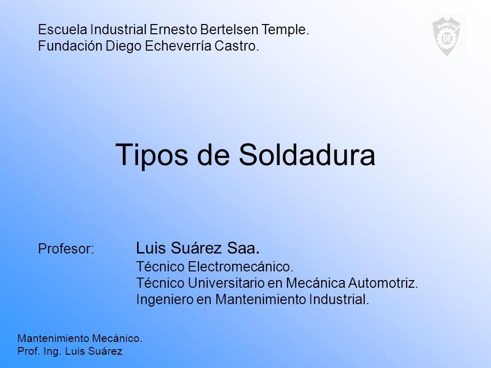 Tipos de Soldadura Escuela Industrial Ernesto Bertelsen Temple.