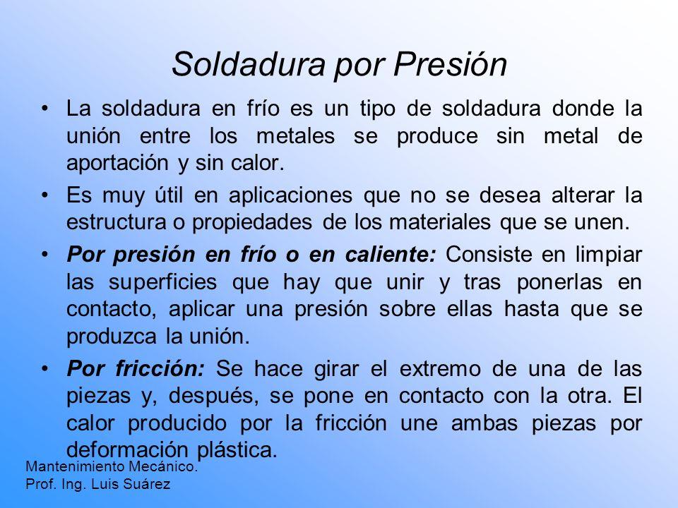 Soldadura por Presión La soldadura en frío es un tipo de soldadura donde la unión entre los metales se produce sin metal de aportación y sin calor.