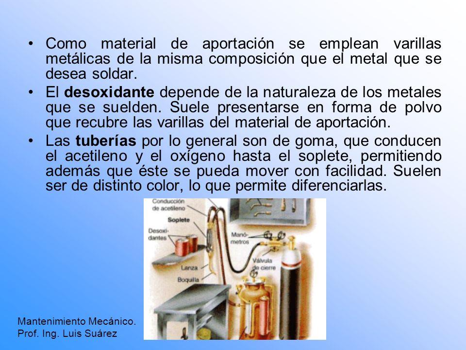 Como material de aportación se emplean varillas metálicas de la misma composición que el metal que se desea soldar.