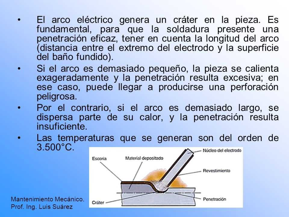 Las temperaturas que se generan son del orden de 3.500°C.