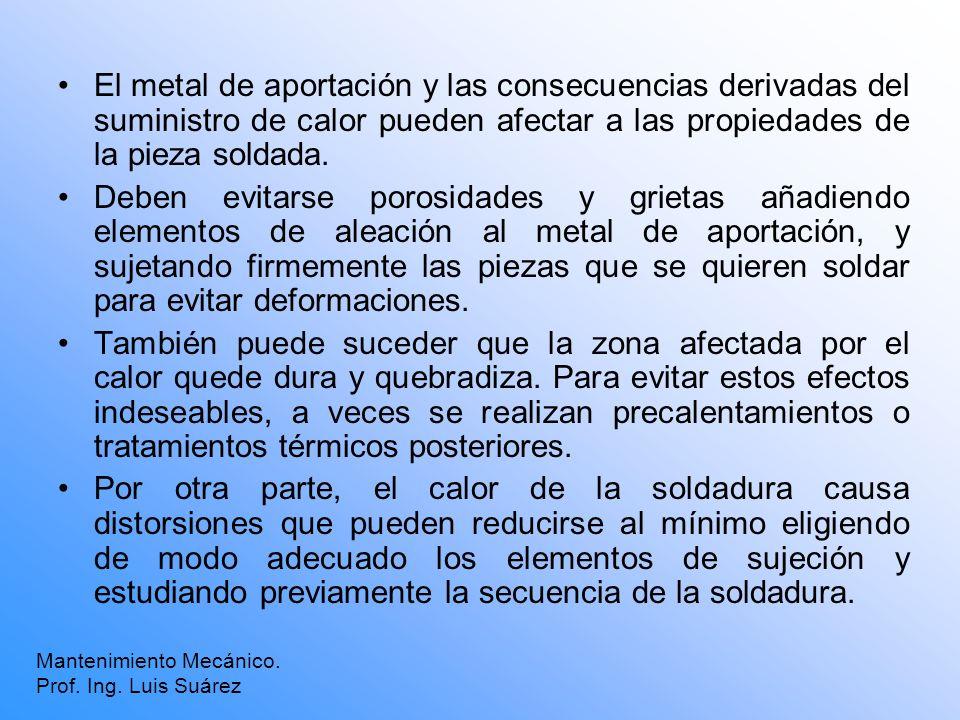 El metal de aportación y las consecuencias derivadas del suministro de calor pueden afectar a las propiedades de la pieza soldada.
