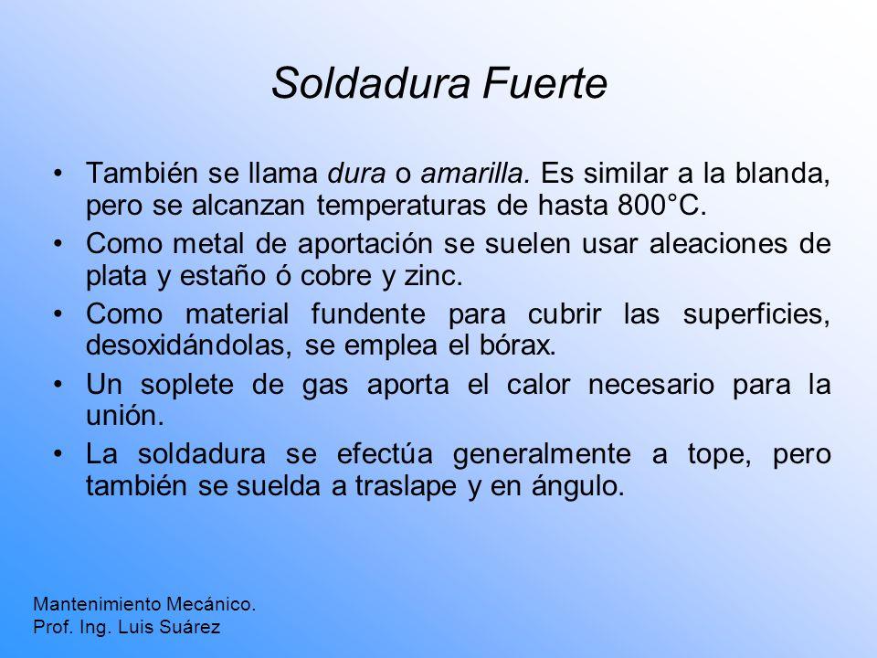 Soldadura Fuerte También se llama dura o amarilla. Es similar a la blanda, pero se alcanzan temperaturas de hasta 800°C.