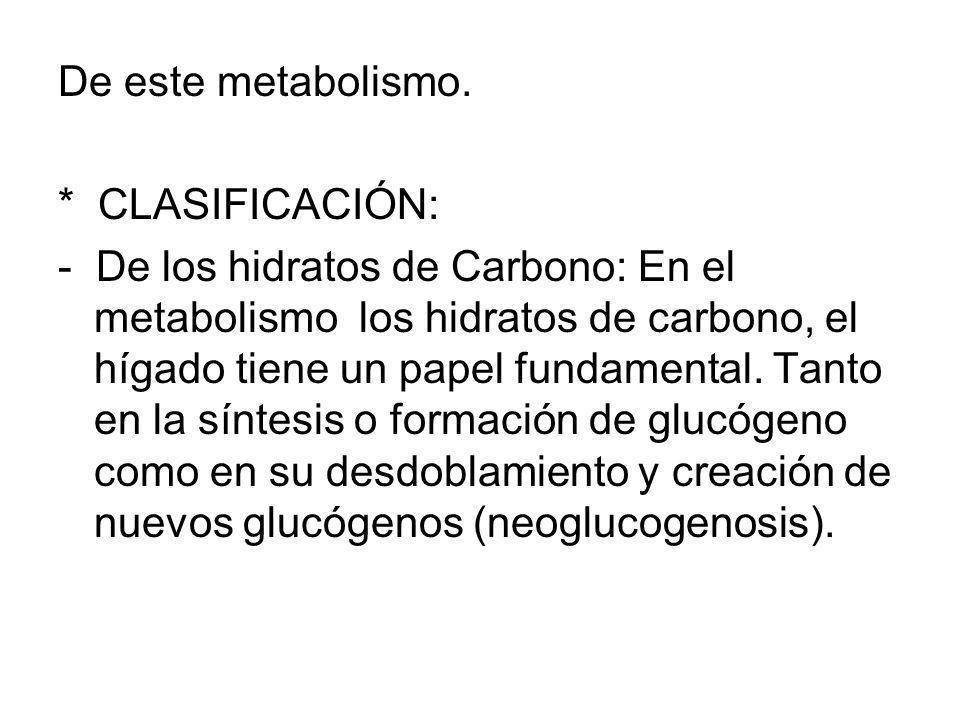 De este metabolismo. * CLASIFICACIÓN:
