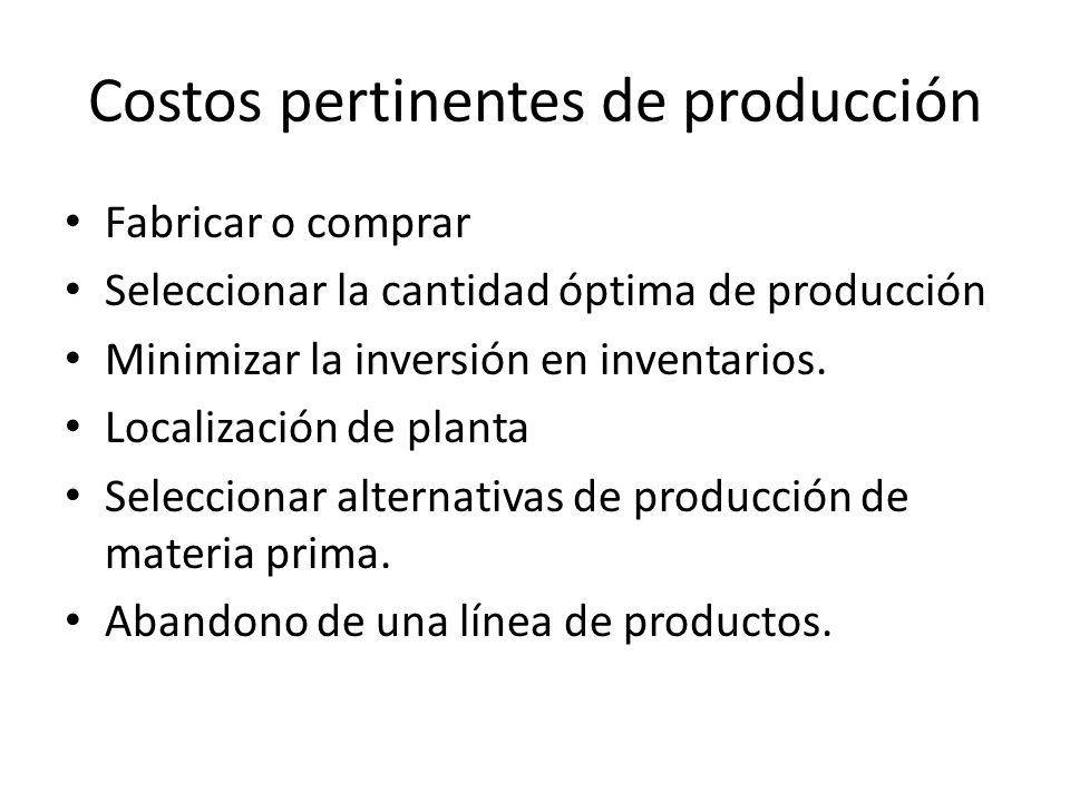 Costos pertinentes de producción