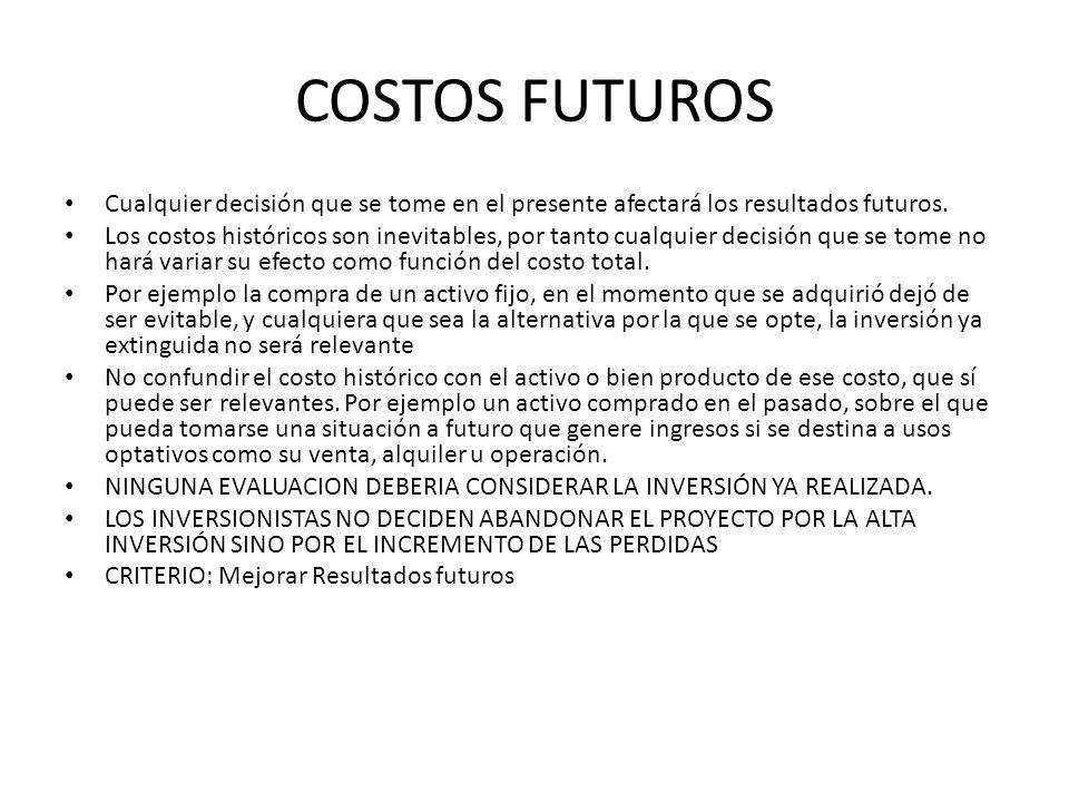 COSTOS FUTUROS Cualquier decisión que se tome en el presente afectará los resultados futuros.